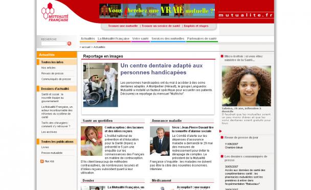 Screenshot du site Internet mutualite.fr
