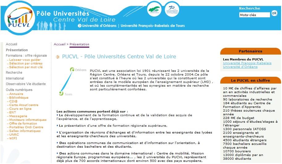 Screenshot du portail Pôle Universités Centre Val de Loire