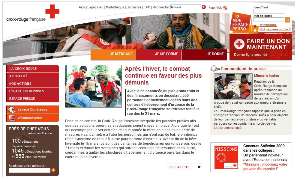 Screenshot du site de la croix rouge