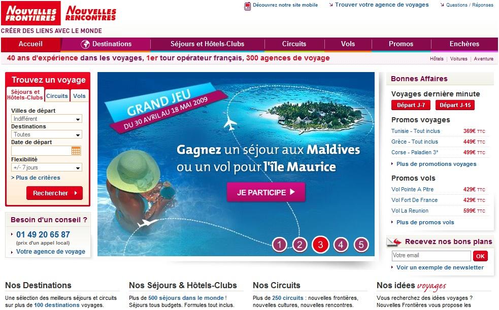 Screenshot après refonte du site internet de Nouvelles Frontières