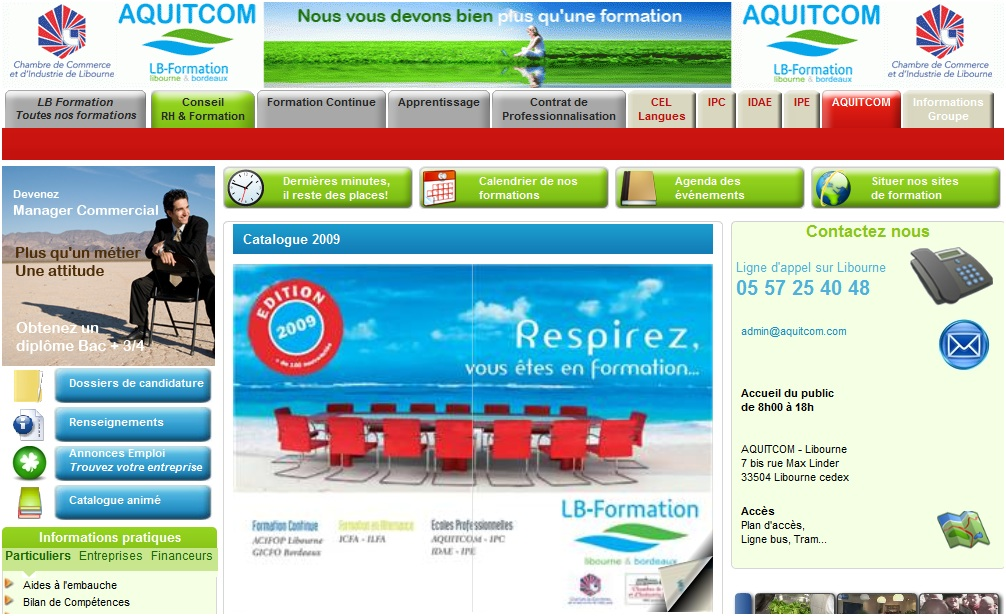 Screenshot du site Internet Acquitcom
