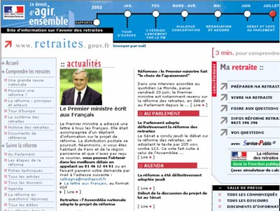 Screenshot du site de l'elysée