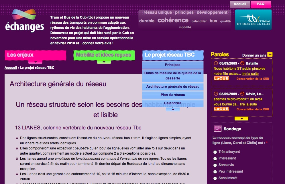 Screenshot du site échanges