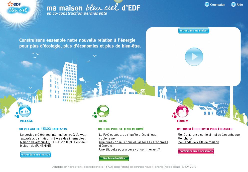 "Screenshot du site ""Ma maison bleu ciel d'EDF"""