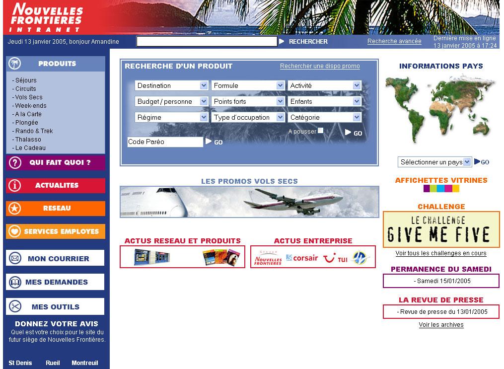 Screenshot de l'intranet Nouvelles Frontières