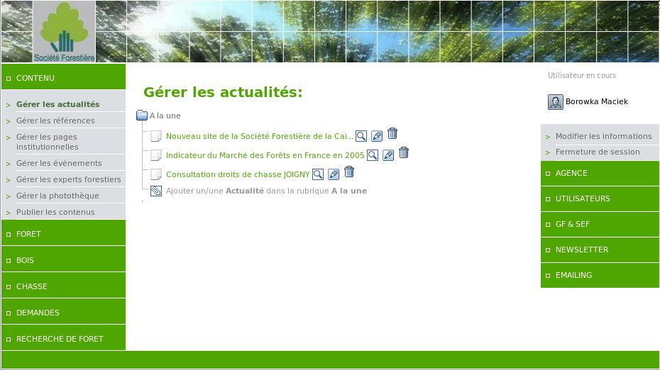 Screenshot du nouveau site internet de la Société Forestière