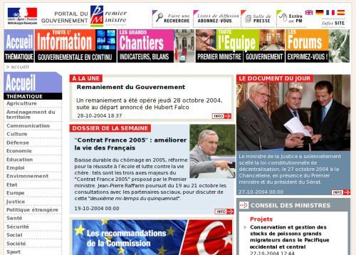 screenshot du site du premier ministre