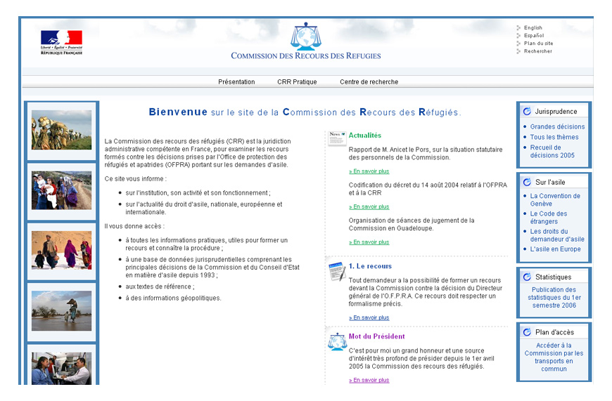 Screenshot du site Internet de la CRR