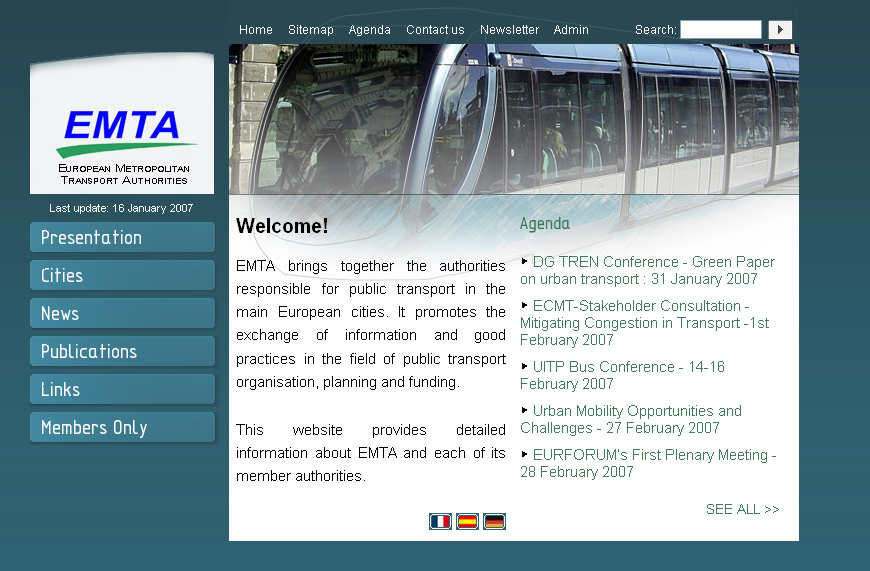 Screenshot du site Internet de l'EMTA