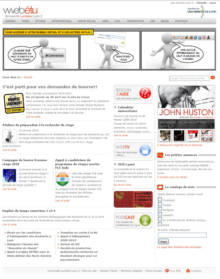 Intégration et migration des portails de l'Université Lyon2 screenshot