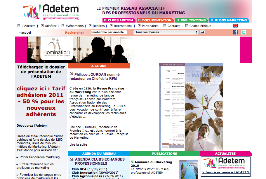 Screenshot du site internet de l'adetem