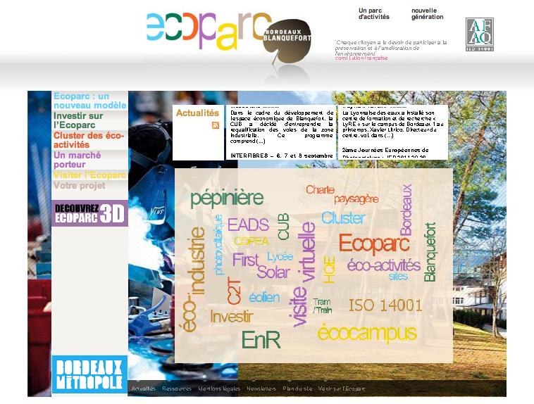 Réalisation du site Ecoparc Bordeaux-Métropole
