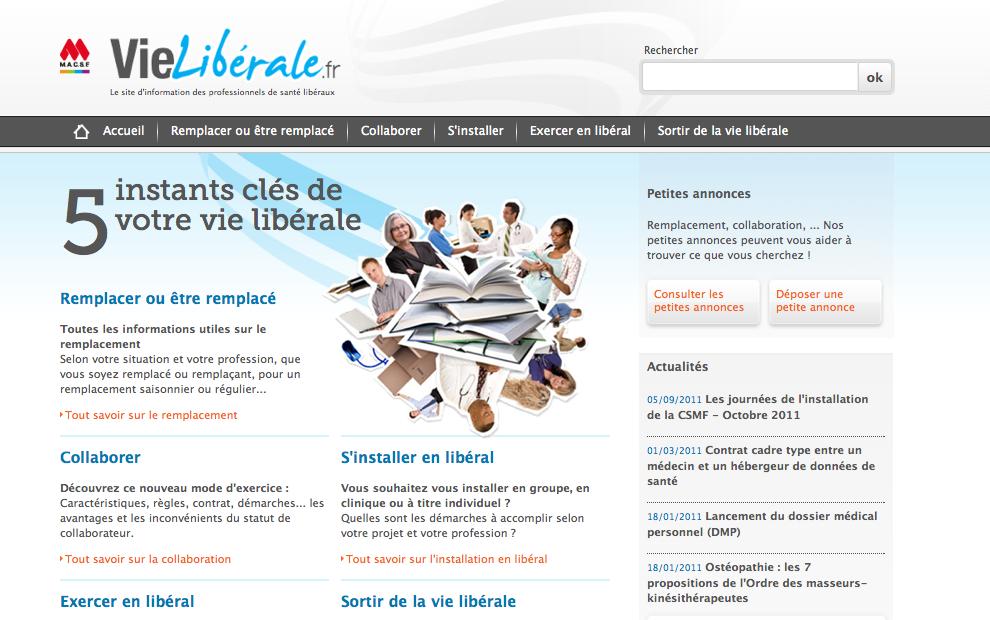 """création de """"Vie Libérale"""" : le site des libéraux de la santé"""