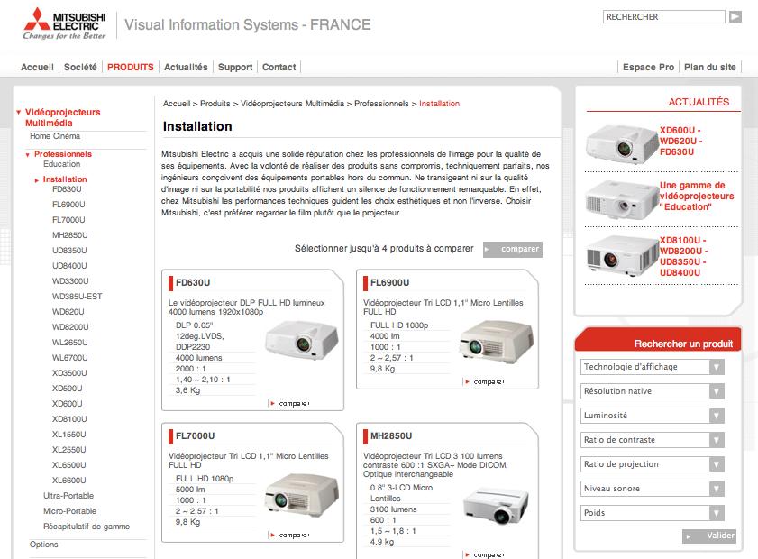 Screenshot de MitsubishiElectric.fr