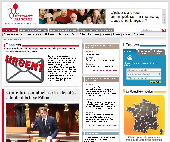 Screenshot du site Mutualité.fr