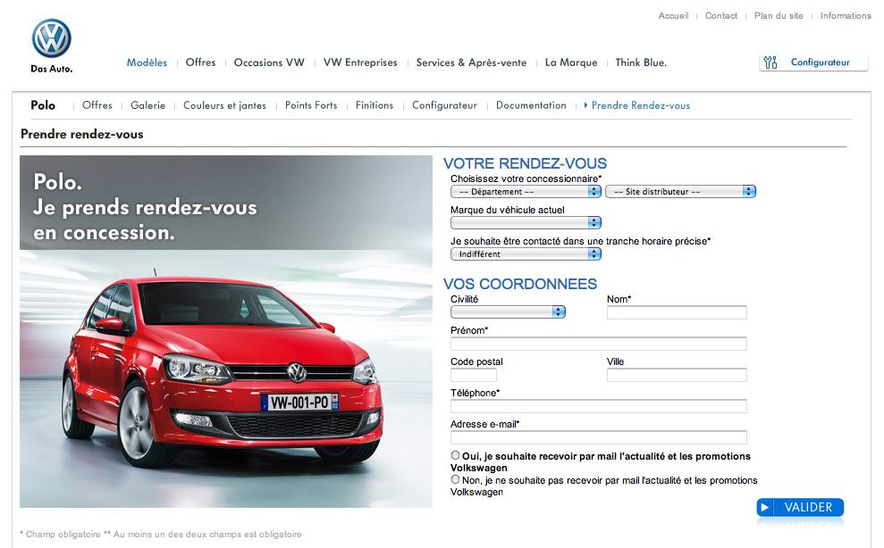 Portail de gestion des leads Volkswagen