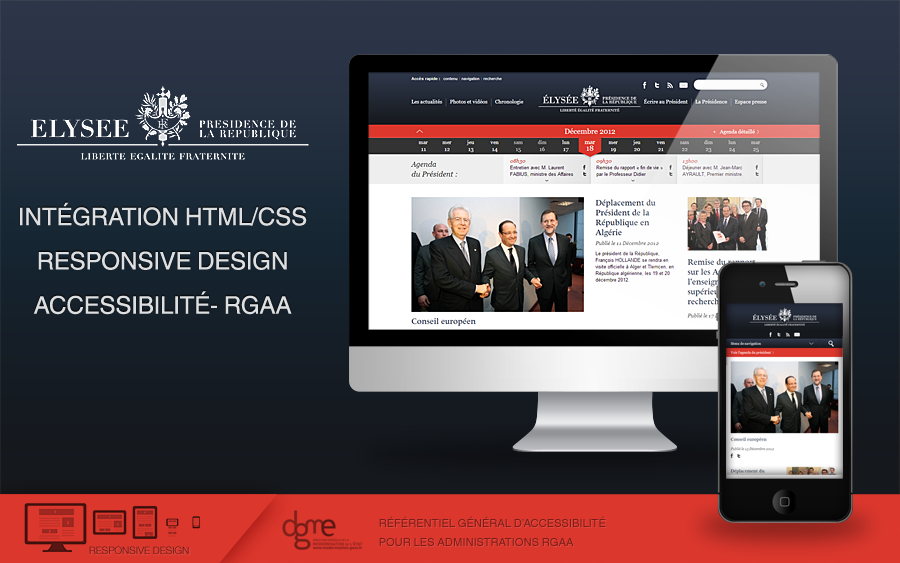 """Intégration """"Responsive Design"""" du site internet de l'Elysée"""