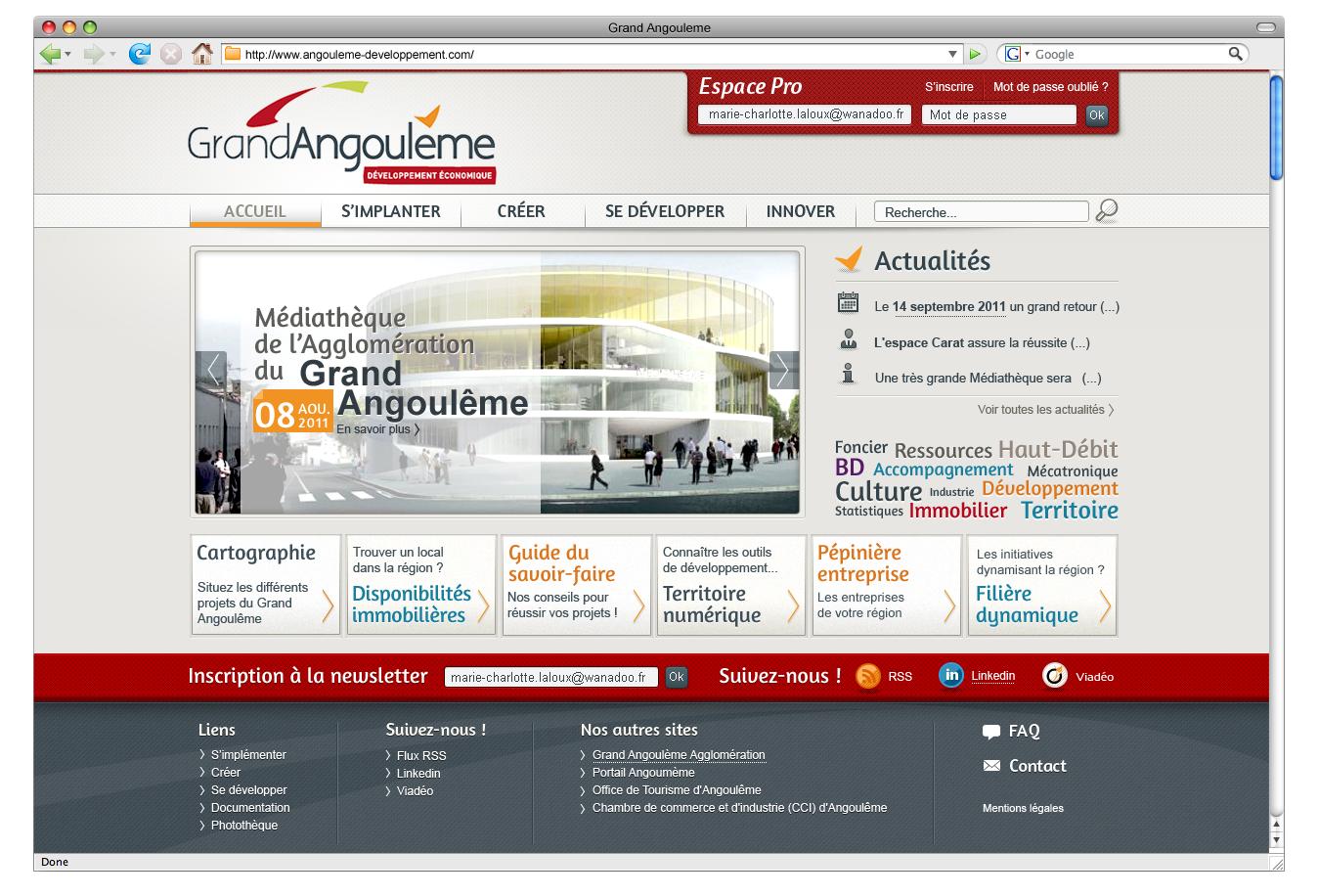 """Réalisation du site internet """"Angoulême Developpement"""""""