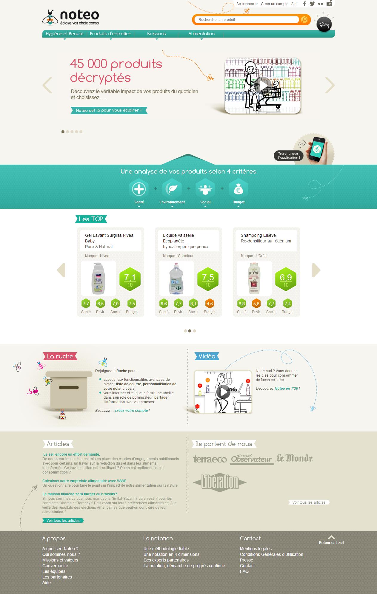 Accompagnement dans la réalisation et le lancement du service d'aide à la consommation de Noteo