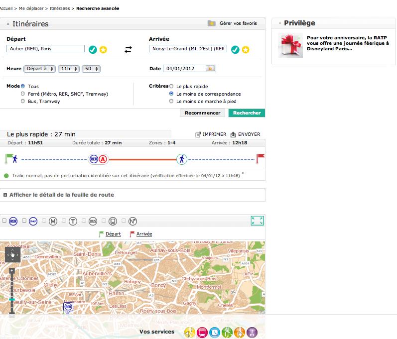 Evolution de la recherche d'Itinéraires pour la RATP