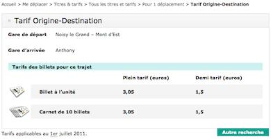 Gestion des Tarifs et refonte Javascript Itinéraire de la RATP