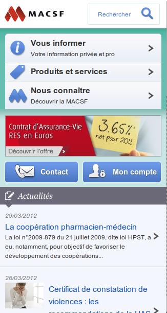 Le site mobile MACSF