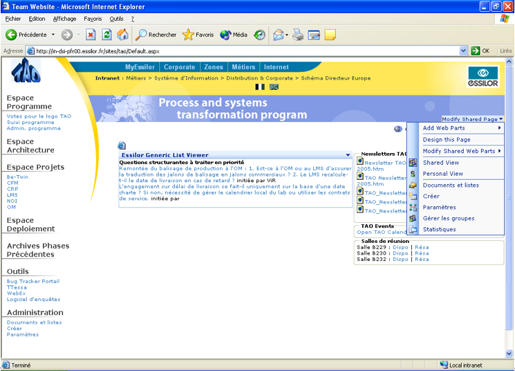 Screenshot du site Essilor Sharepoint