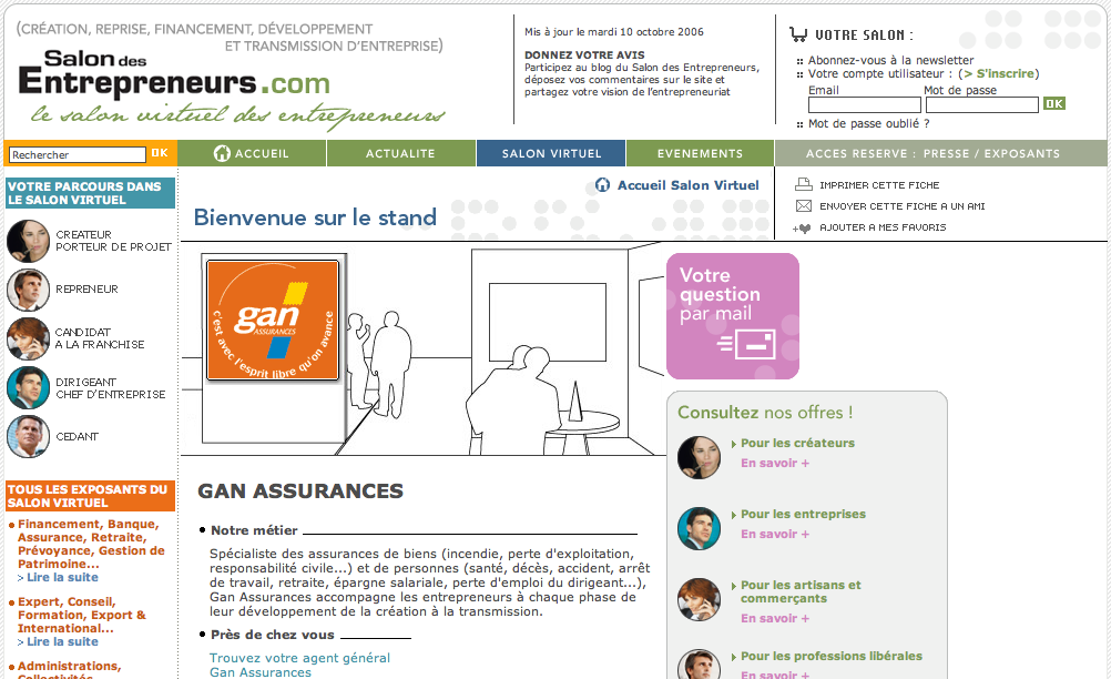 Screenshot du site internet du Salon des Entrepreneurs