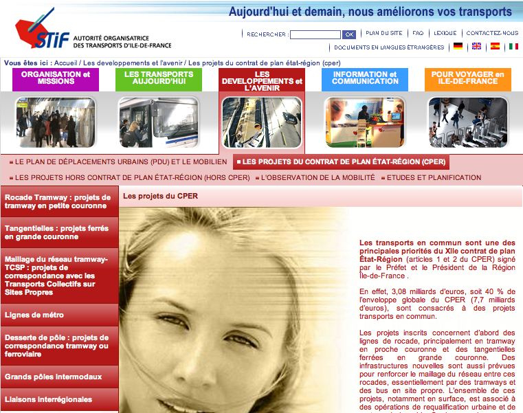Screenshot du site institutionnel du STIF