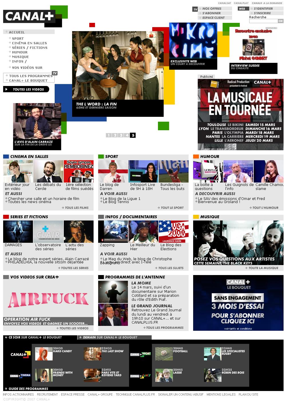 Screenshot du sit Canal+