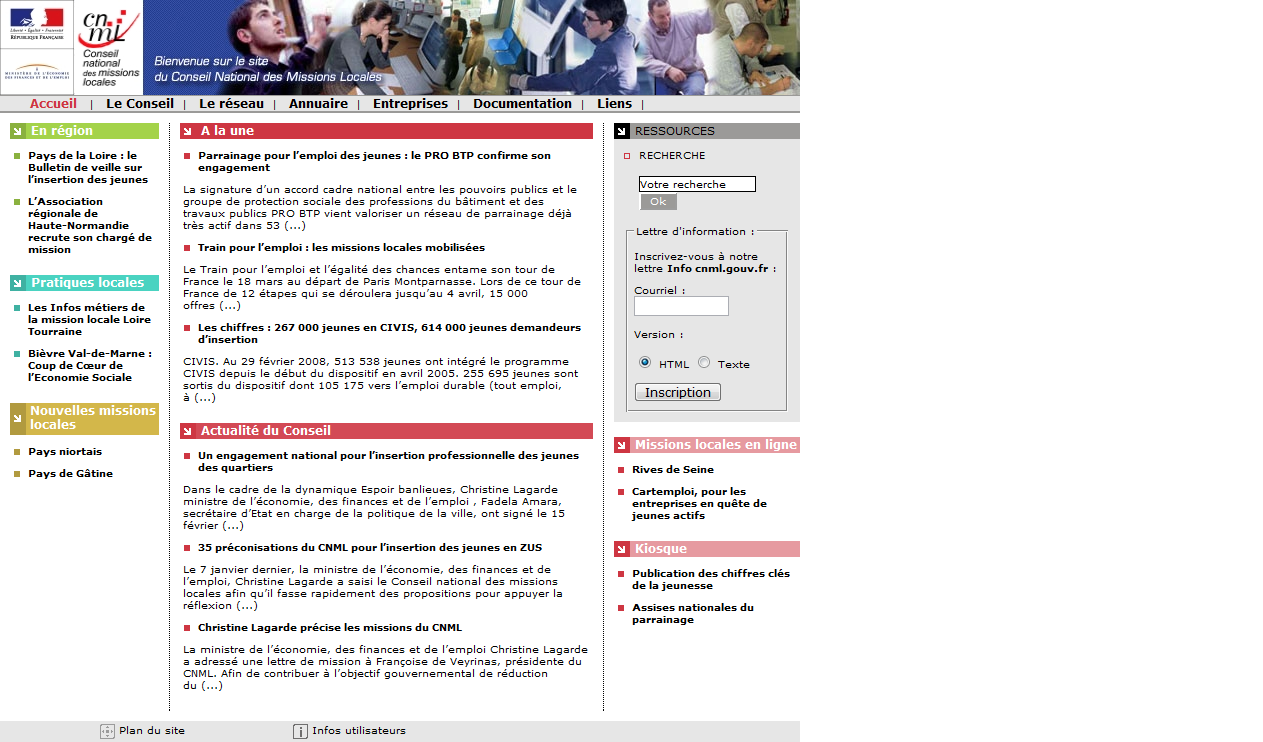 Screenshot du site du CNML