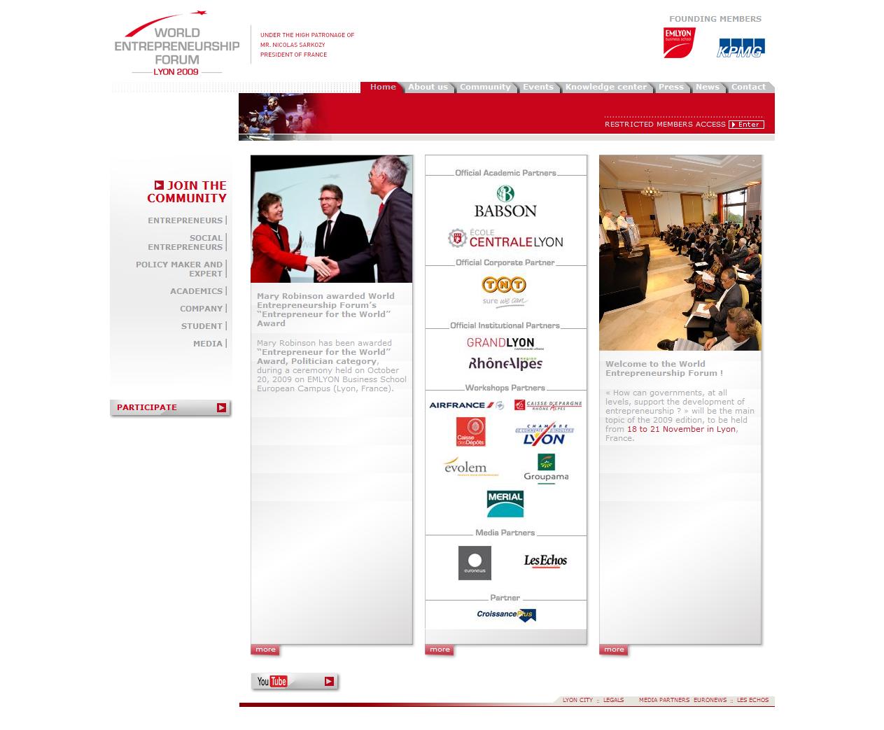 Screenshot du site internet dédié à l'événement World Entrepreneurship Forum