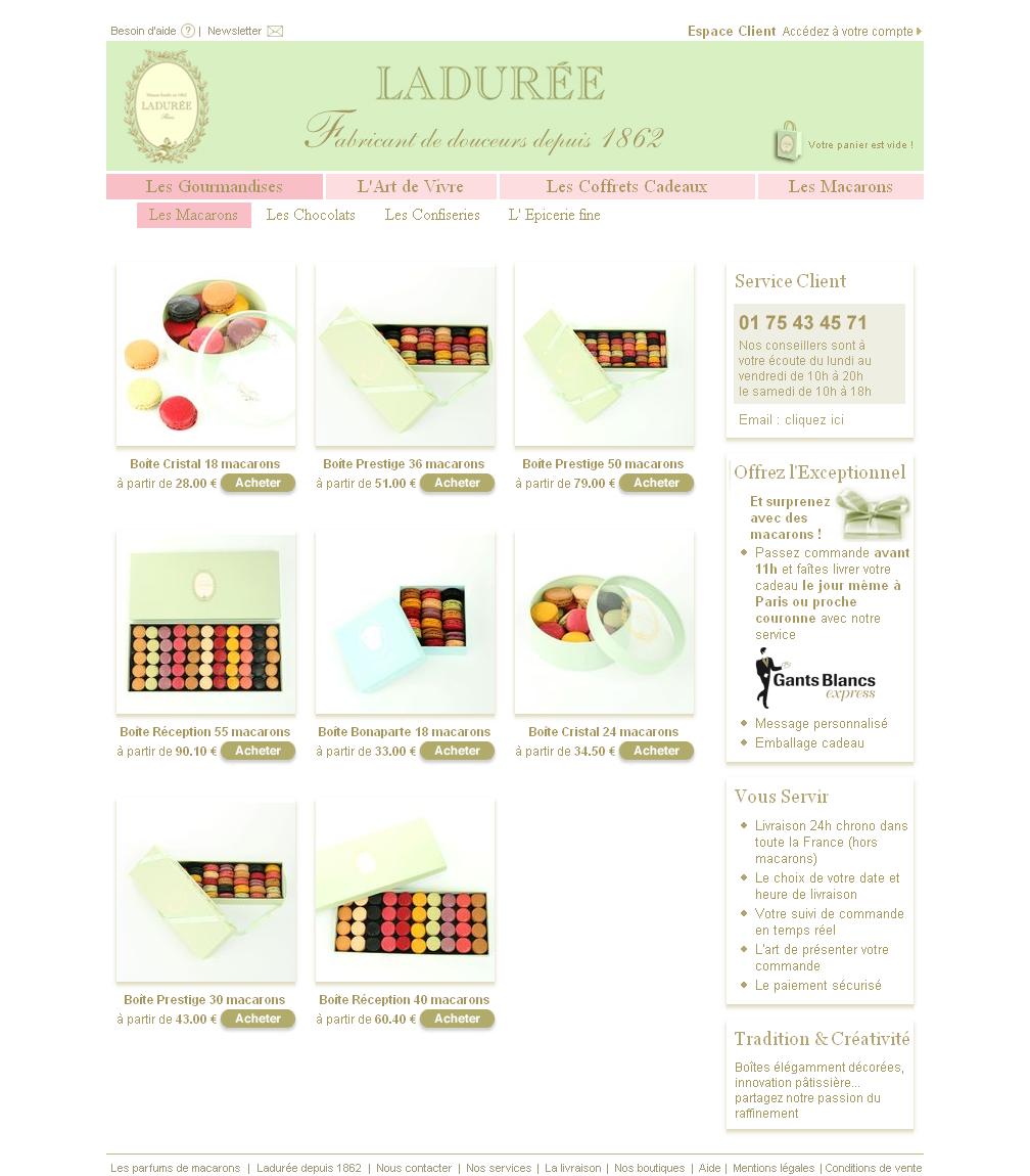 Screenshot de la plateforme ecommerce ladurée