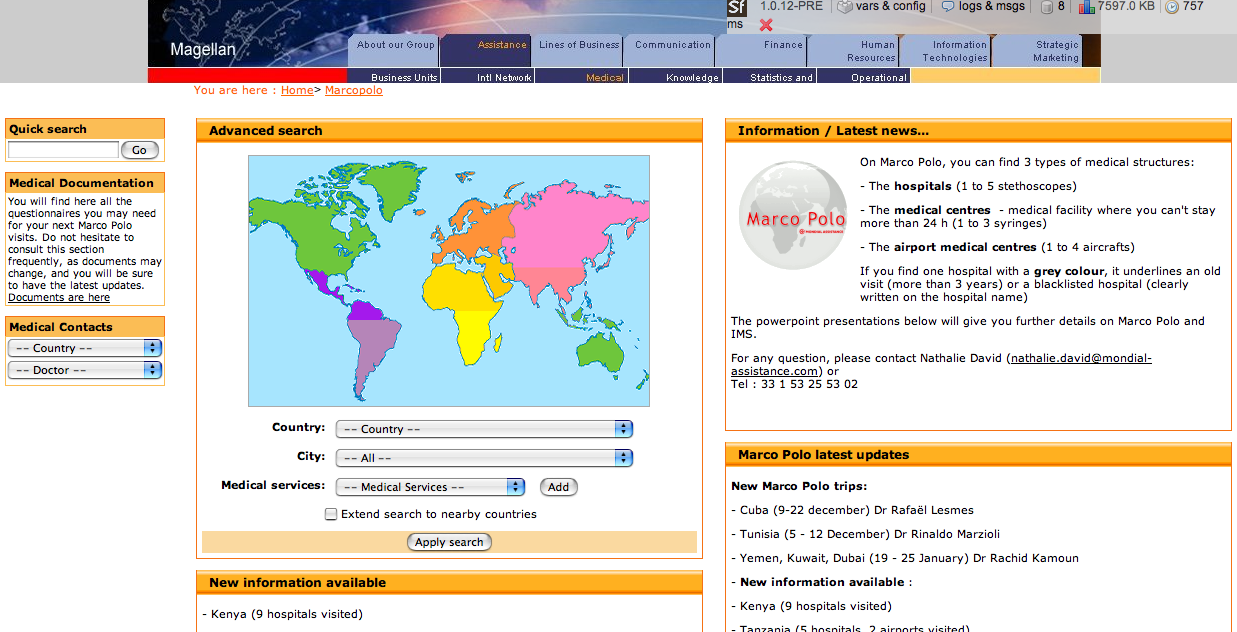 Screenshot Géolocalisation de mondial assistance
