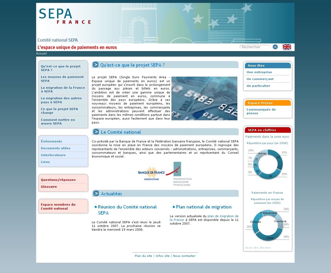 Screenshot du site Internet SEPA