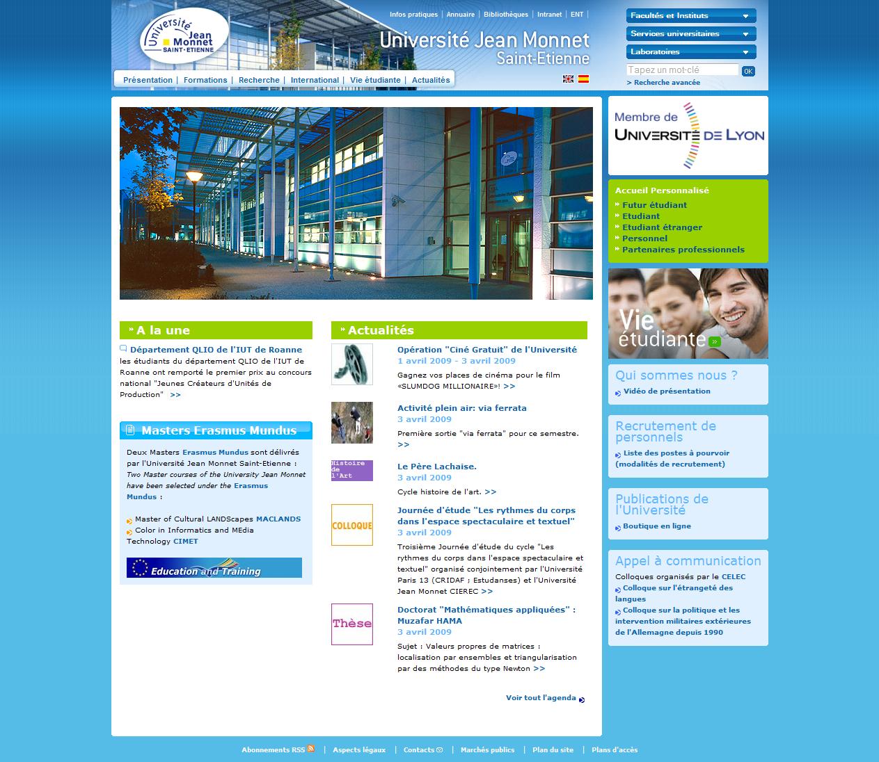 Screenshot du site internet de l'Université Jean Monnet Saint-Etienne