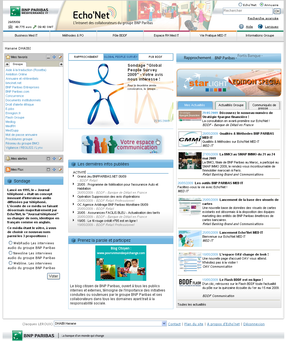 Screenshot du Portail groupe Business to Employees : Echo'net