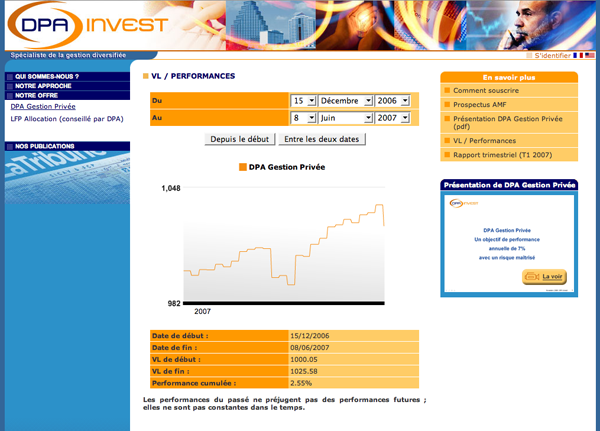 Screenshot du site www.dpainvest.com