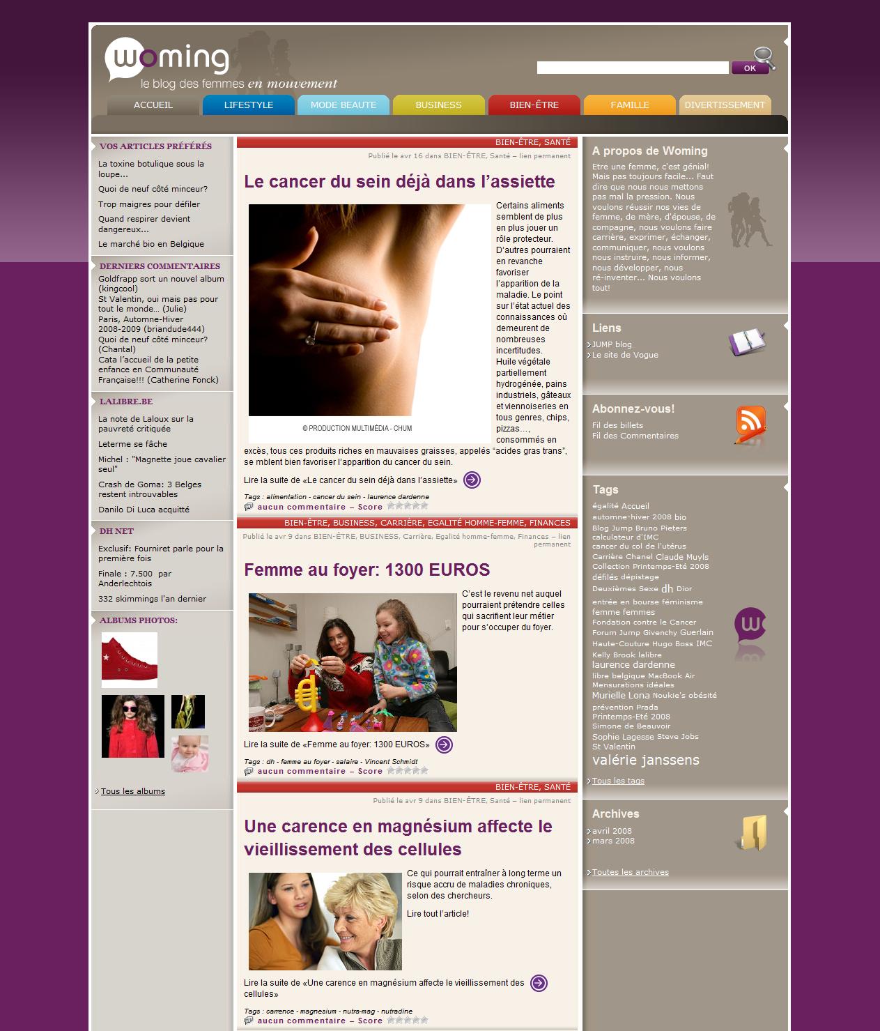 Screenshot du site Internet Woming