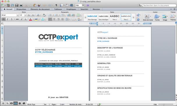création de l'Application CCTP Expert