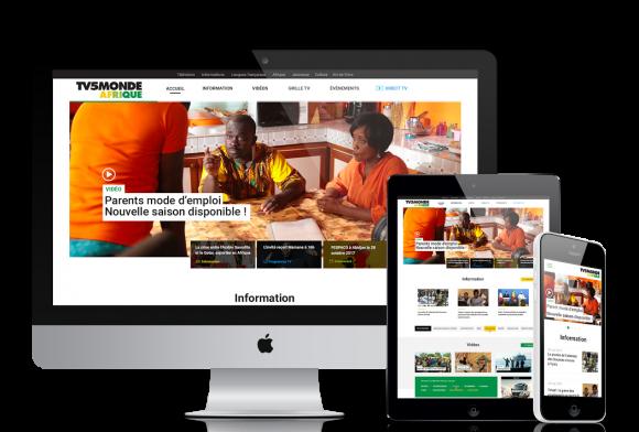 Présentation du site TV5MONDE Afrique sur différent appareils : Ordinateur, tablette et téléphone