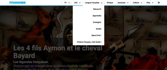 Capture d'écran représentant la métanavigation des sites TV5MONDE