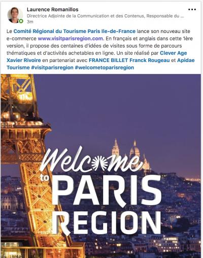 Visit Paris Region tweet